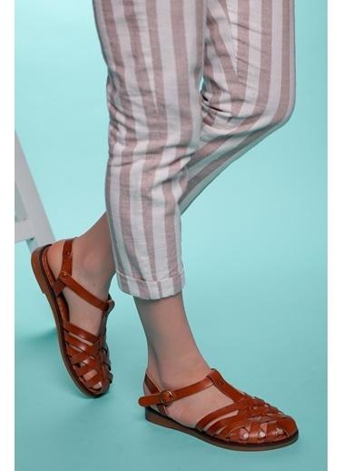 Muggo Hakiki Deri Sandalet Taba